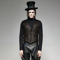 Steampunk Style Men's Military Uniform Short Tank Top Steampunk Vintage Leather Jacket Vest