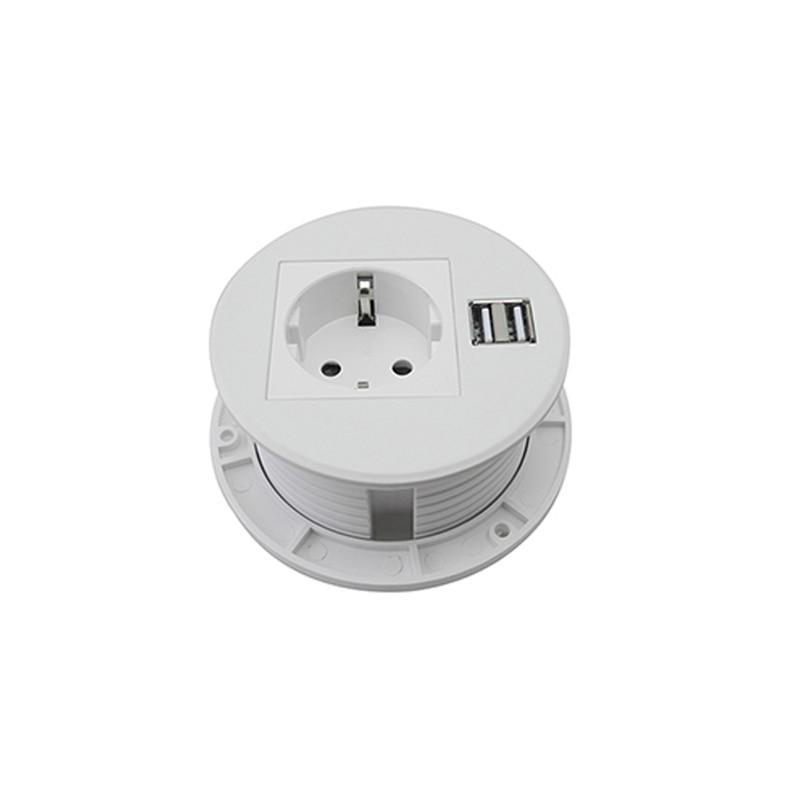 Prise de bureau polyvalent de puissance ronde blanche Pure avec 1 prise de courant de l'ue, 2 Charge d'usb pour la cuisine d'hôtel de bureau adaptée aux besoins du client