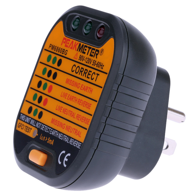 PEAKMETER PM6860DR Automatische Elektrische Steckdose Tester Neutral ...