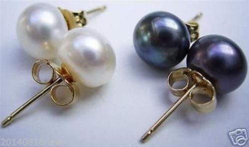 Women/'s Genuine Natural Akoya jaune Freshwater Pearl 925 Argent Boucles d/'oreilles 9-10 mm