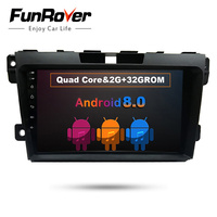Funrover 9 Android 8.0 2 din Car DVD radio stereo multimedia Player For Mazda CX7 CX 7 CX 7 2008 2015 headunit GPS navi video