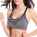 VEAMORS 5 Colors Women Shockproof Sport Bras Professional Yoga Shirt Tops, Sports Fitness Yoga Seamless Running Vest Tank Tops
