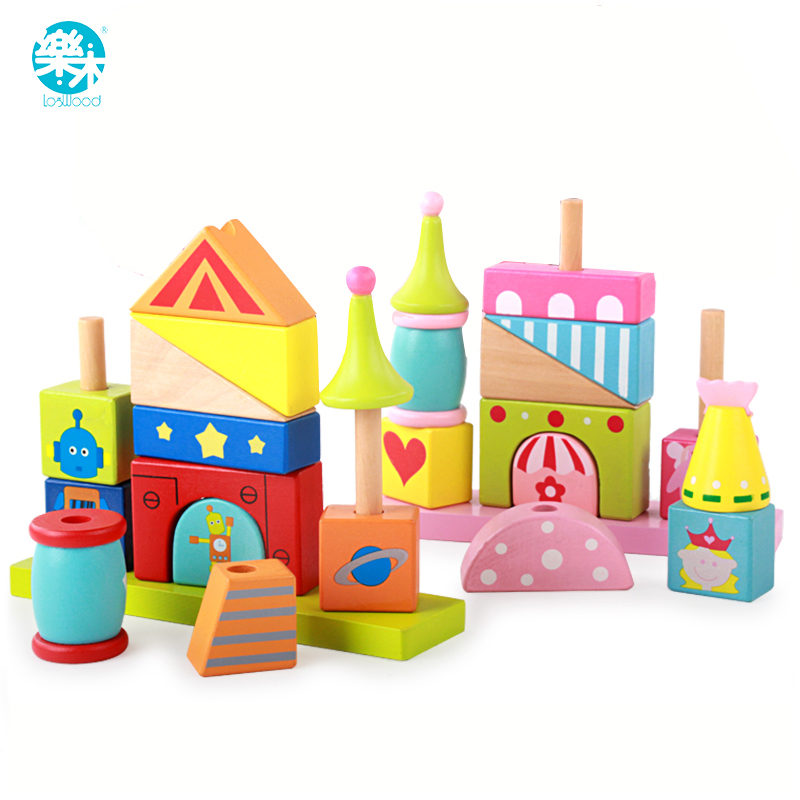 Baby wood building blocks chopping wooden block children education montessori tower set baby toys 14 piece per set montessori baby educational wooden geometry shape wood building blocks teaching toys