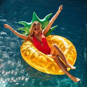 Duży żółty nadmuchiwany ananas okrążenia pływackie nadmuchiwane koło do pływania pływający basen wody zabawki na imprezę tanie i dobre opinie WOMEN L0592 CAMISUENO Pineapple Swimming Laps Swimming Pool Toy