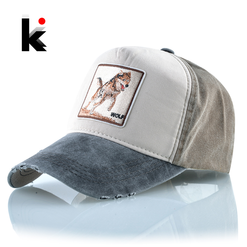 Snapback Hats For Men Wolf Pattern Embroidery   Baseball     Cap   Women Spring Summer Breathable Cotton Bone Fashion Hip Hop Casquette
