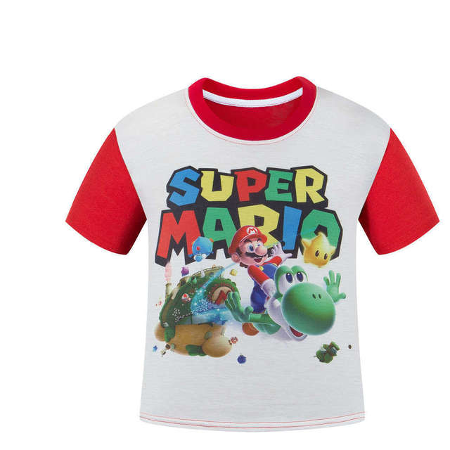 Boy Clothes Cotton Cute Cartoon T-shirt Super Mario Brother Short Sleeve Children Shirts Boys Clothing Girls T-shirt Kids Tees