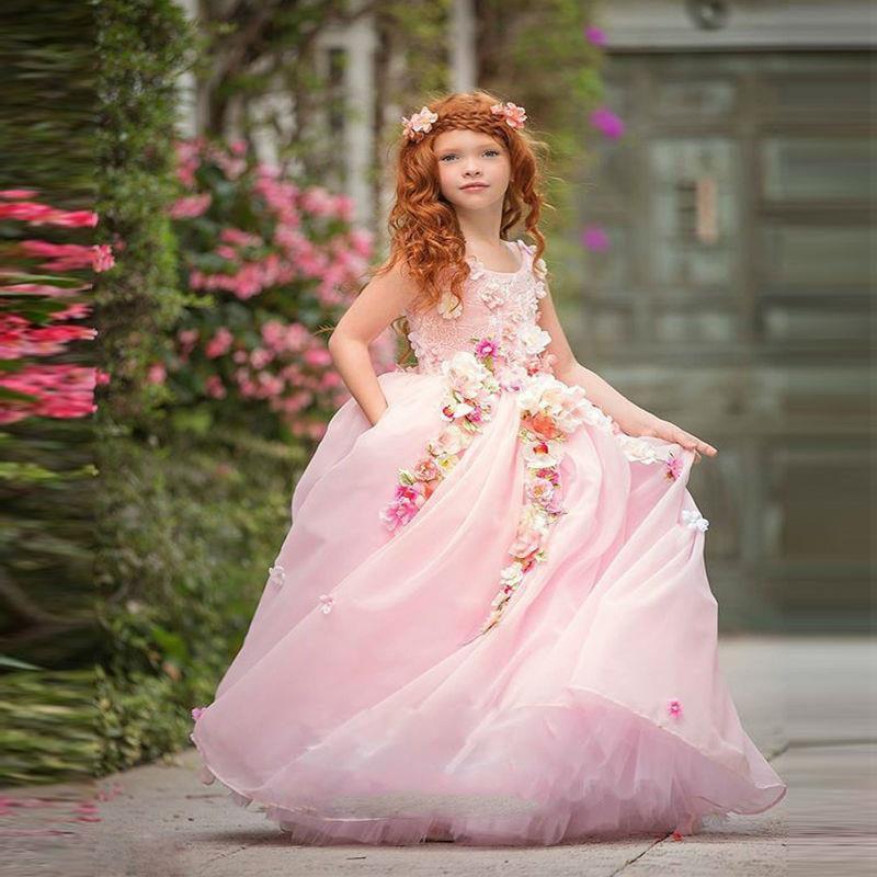 Flower Girl Dresses Long Colorful Flowers Kids Dress Middle East