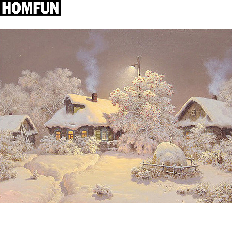 "HOMFUN Full Square/Round Drill 5D DIY Diamond Painting ""Snow House"" Embroidery Cross Stitch 5D Home Decor Gift"