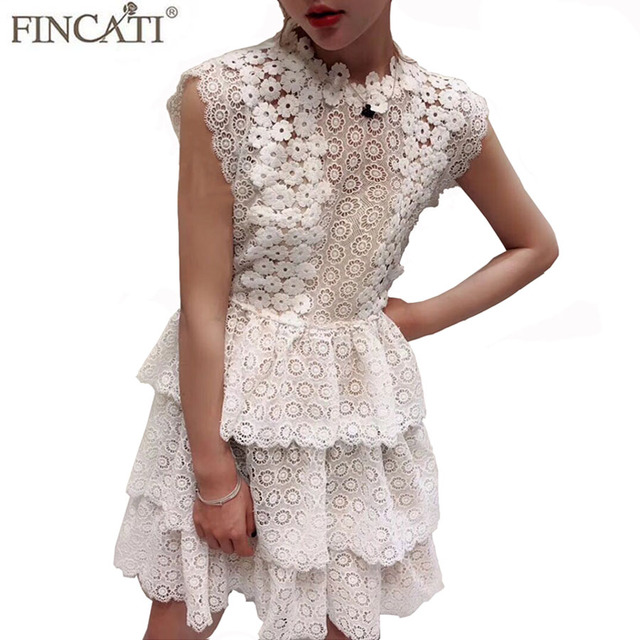 Women Lace Dress 2018 Summer Party Dress New Runway White Floral Lace  Frilled Cascading Ball Gown Cake Dresses Mini Girls Dress