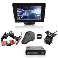 Car Video Parking Sensor 4 3 Inch Monitor Digital Display 13mm Flat Parking Sensors 4 Reverse