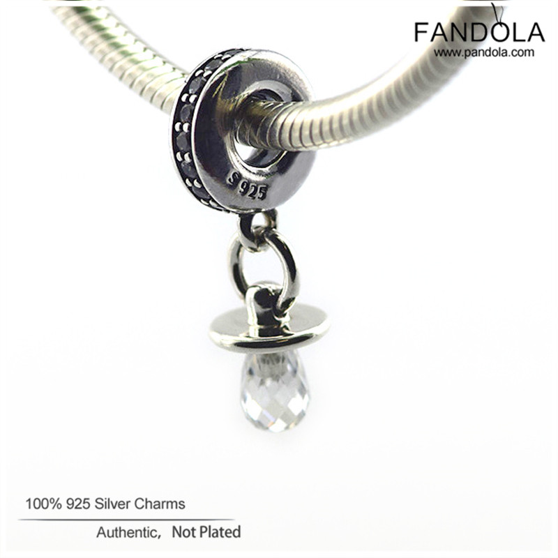 Promotion 925 Sterling Silver Clear CZ Pacifier Dangle Perles pour la - Bijoux - Photo 3