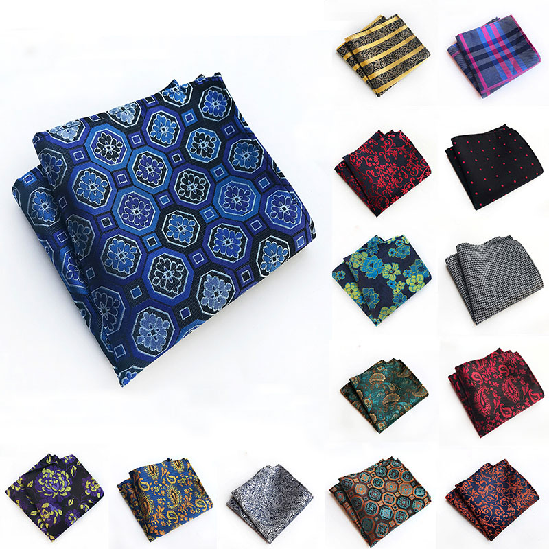 Fashion Men's Pocket Square 100% Silk Hankerchief Flower Paisley Dot Floral Hanky Wedding Party Gift For Man Pocket Scarf