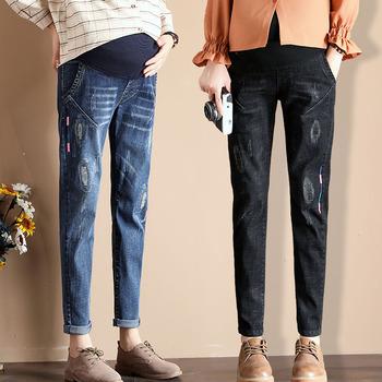 Spodnie ciążowe ubrania ciążowe wiosna jesień jeansy ciążowe dla kobiet w ciąży Casual Cotton Belly elastyczne spodnie dżinsowe tanie i dobre opinie GB-Kcool WOMEN Denim Elastyczny pas Macierzyństwo Natural color light Distrressed WHITE Kolorowe Enzym prania REGULAR Maternity jeans pants