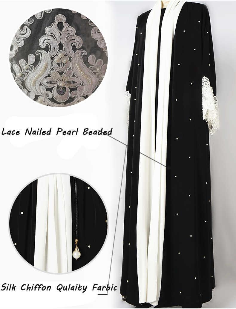 Dubai de perla Abaya para las mujeres musulmanas vestido largo Cardigan ropa islámica Kimono Malasia traje turco caftán túnica