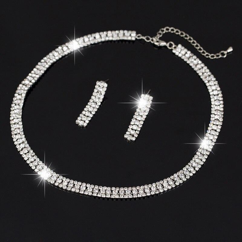 2015 Wedding Bridal Silver Plated Crystal Rhinestone Necklace Earrings Jewelry Setsafrican beads jewelry set N174