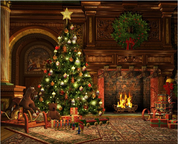 Christmas Tree Backgrounds.Us 32 28 15 Off 8x15ft Living Room Garland Carpet Rocking Horse Carpet Fireplace Christmas Tree Custom Photo Studio Background Backdrop Vinyl In