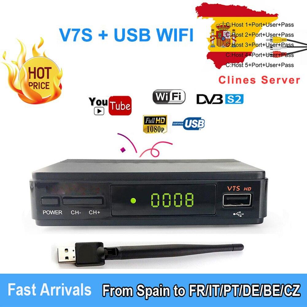 V7S HD DVB-S/S2 Satellite Empfänger Volle HD1080P + USB WIFI unterstützung YouTube, Biss schlüssel, ccam cline 1 jahr host verkauf in Spanien