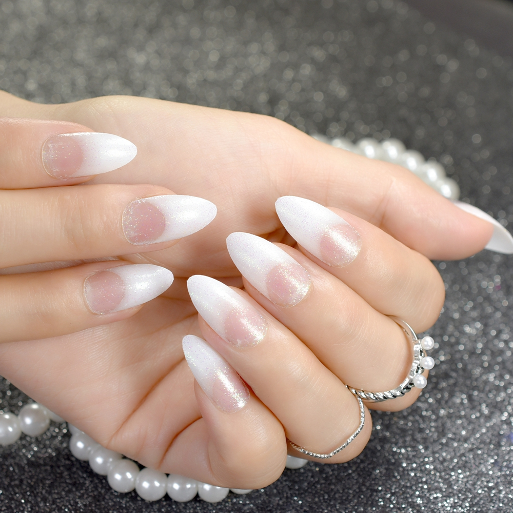 US $1 99 |24Pcs Fashion Acrylic Pointed False Nail Stiletto Nails Clear  Holo Glitter French Nails Tips Full Cover Manicure Product-in False Nails  from