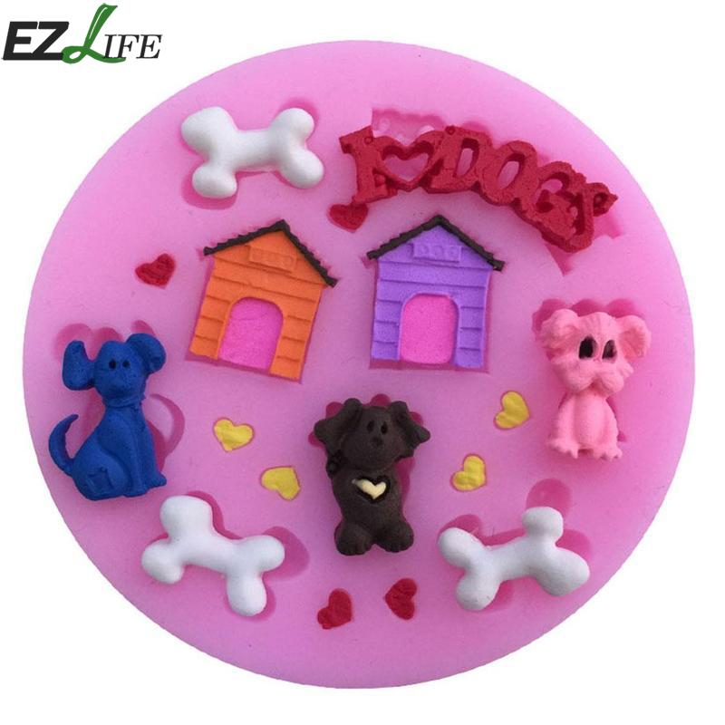 1 Pcs Pink Silicone Cake Mold Cake Decorating Tools Doghouse Pet Bone Love Liquid Silicone Diy Baking Fondant Silicone Mold