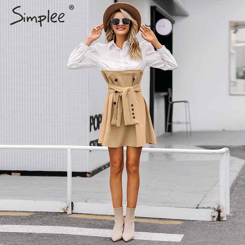 Simplee пуховик с рукавом рубашка платье женщины Элегантные пуговицы пояса офисные женские платья Осень дамы рабочий костюм