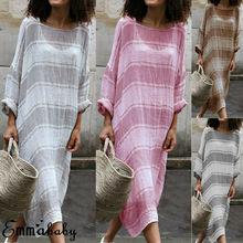 Women Boho Dress Casual Linen Baggy Loose Long Maxi Dresses Kaftan Sleeve Plus Size S-5XL