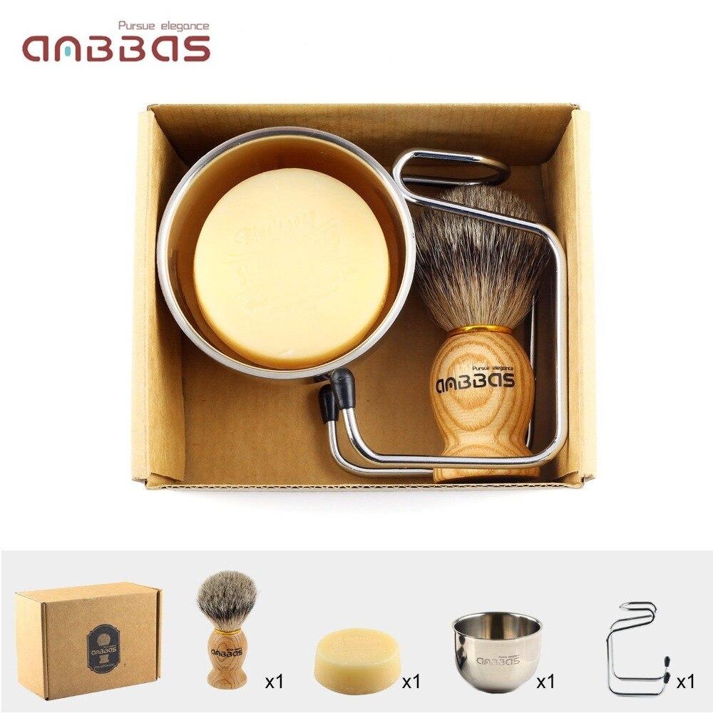 Anbbas 4in1 Men Shaving Brush Kit 100% Natural Badger Hair Brush Wood Handle Stainless Steel Holder Bowl Mug Soap Grooming Set 5