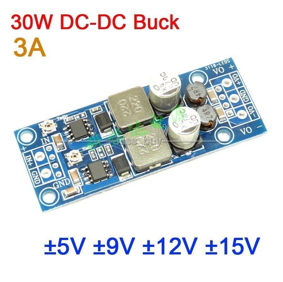 DYKB 30W DC-DC Buck Converter Voltage 4.5-30V TO ±5V ±9V ±12V ±15V 3A Dual Output Power Supply Positive To Negative Voltage