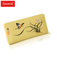Soomile 2018 Chinese Style Printing Canvas Long Women Wallet Ladies Card Holder Tribal Female Purse Bag