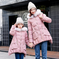 Mother daughter clothes 2018 winter family matching clothes Pink/beige/sky blue jackets women and girls winter hooded coats