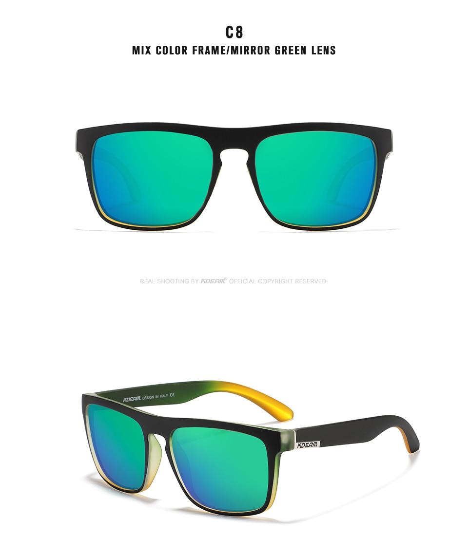 New arrived Cool Colors block design Sunglasses Men Square Mirror green Polarized lens UV400 protection KD156-C8 KDEAM