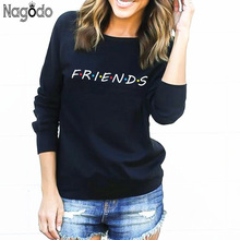 Nagodo friends tshirt 2018 Instagram Winter Thick Letter Print T Shirt Women O-neck Long Sleeves Casual Tee Tops T-shirt Funny