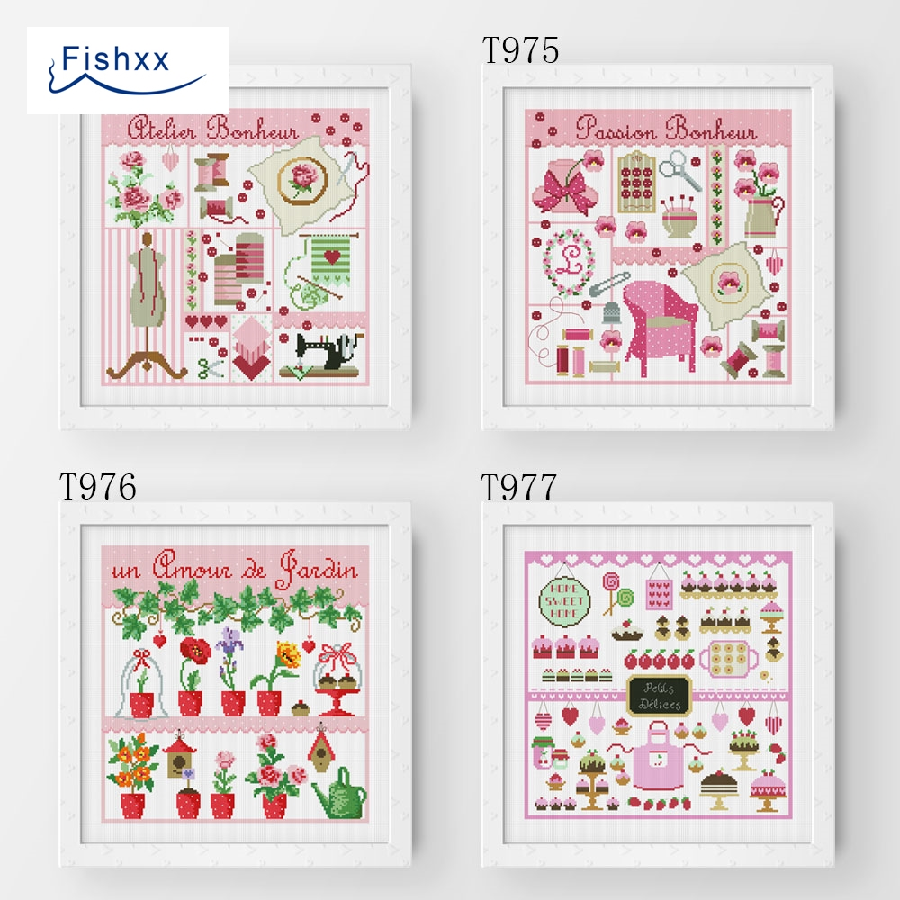 Fishxx Cross Stitch T977 Handmade DIY Cake Sew Garden Four Pattern Embroidery Bags