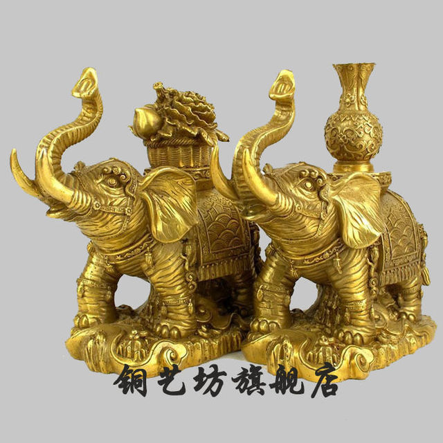 8 China Bronze Feng Shui Lucky Elephant Vase Cornucopia Statue A
