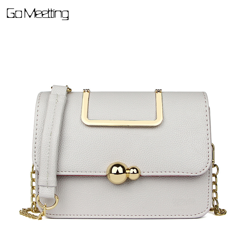 Go Meetting Brand Women Bag Fashion Women Handbag Messenger Bags Chain Small Shoulder Bag High Quality PU Leather Crossbody Bag metallic pu chain crossbody bag