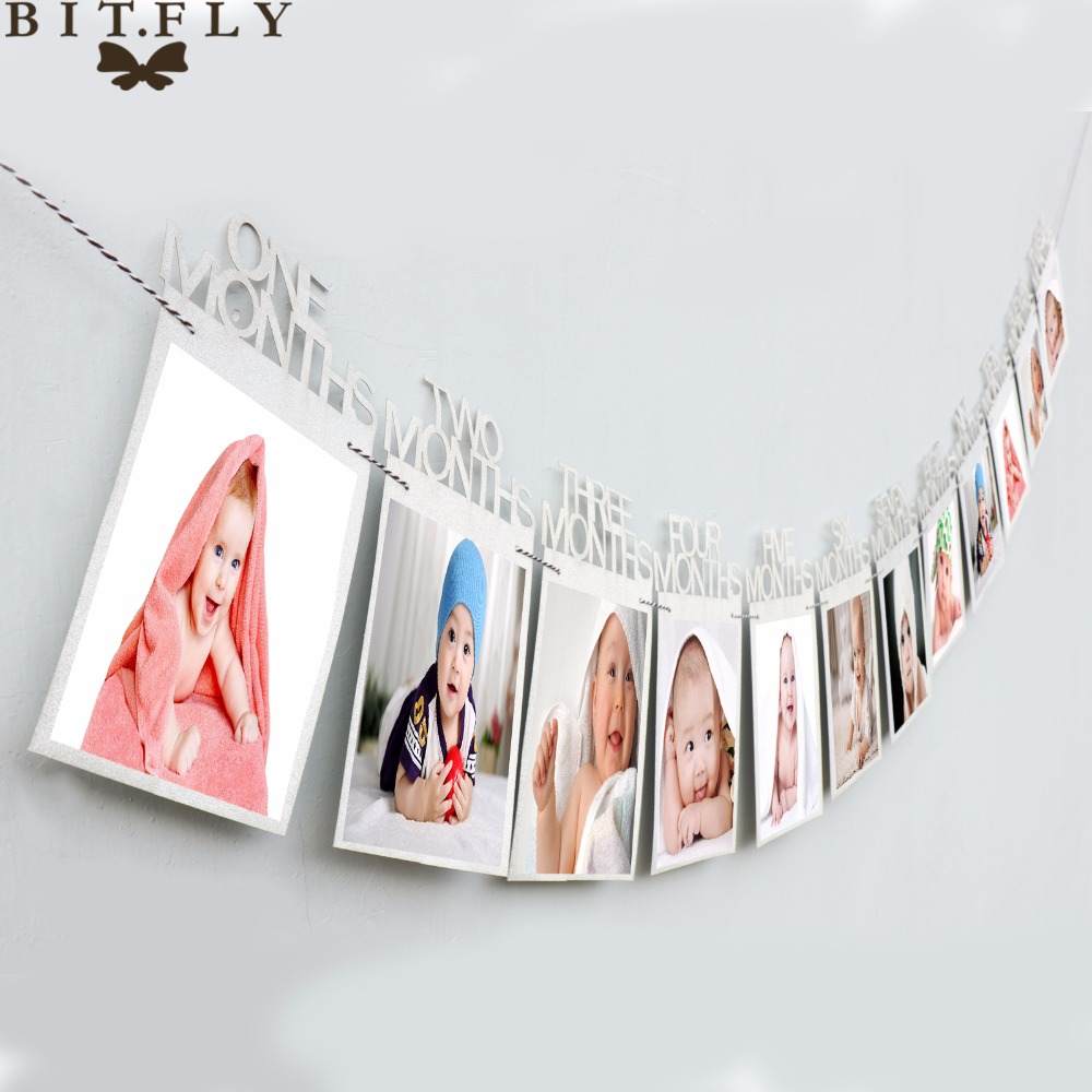 1-12 Month Baby Photo Frame Birthday Monthly Banner Garlands Holder Hanging /&