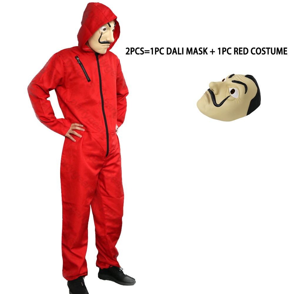 2018 La Casa De Papel Salvador Dali Cosplay Red Jumpsuit Costume Salvador Dali Cosplay Movie Halloween Cosplay Costume S-3XL cosplay red