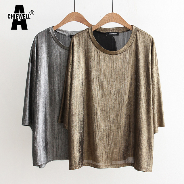 b57d9dffc683 Achiewell Summer Casual Street Style Loose T-shirt Plain Metallic Thread  Round Neck Short Sleeves
