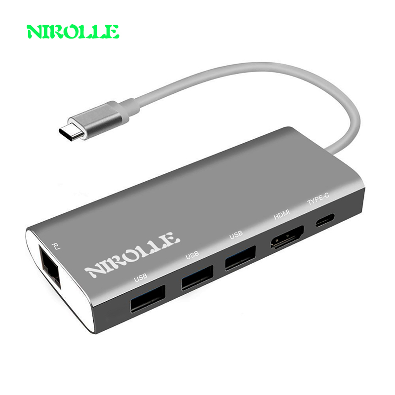 NIROLLE USB C HUB HDMI adapter type-C to HDMI Card Reader RJ45 PD Adapter for MacBook Samsung Galaxy S9/S8 Type C HUB USB 3.0