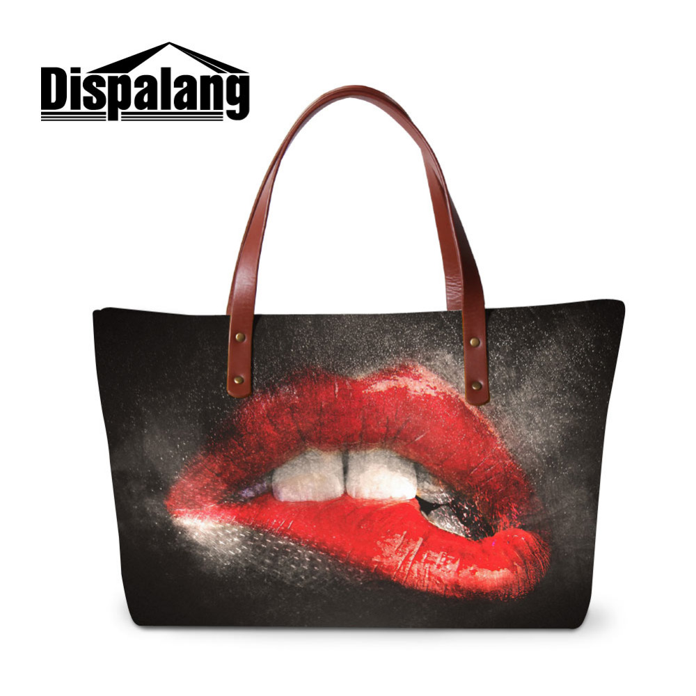 Dispalang Sexy Red Lips Print Women Shoulder Bag Fashion Women's Handbags Large Hand Bag Tote Ladies Top-handle Female Beach Bag forudesigns vintage black pet dog printed women large handbags fashion ladies top handle bag girls shoulder female big tote bag