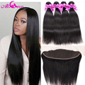 7A Lace Frontal Closure With Bundles Brazilian Virgin Hair Straight With Frontal Closure Human Hair with Lace Frontal Ali Coco