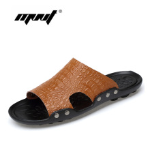 Genuine Leather Slippers Men Summer Sandals Breathable Crocodile Designer Stylish Shoes Casual For