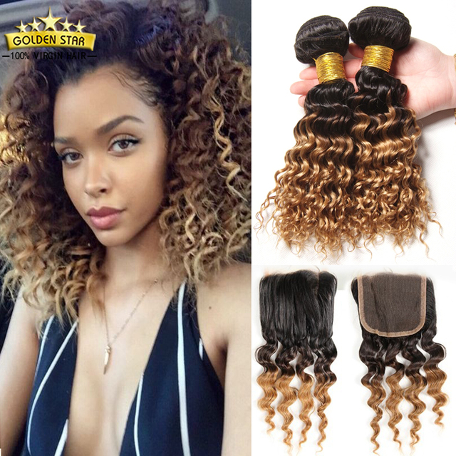 8a Ombre Brazilian Curly Hair With Closure Short Bob Human Weave 3pcs