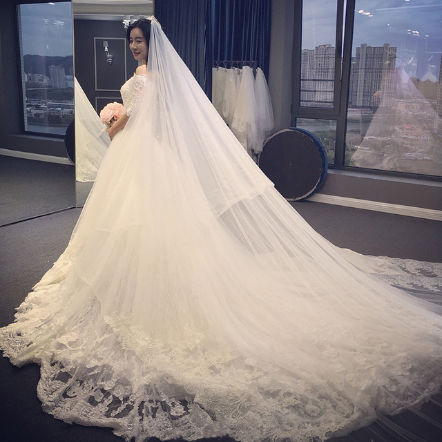 3df8b1e35010 New Design 2017 Long Wedding Dress Boat Neck Half Sleeves Ball Gown  Appliques Tulle Lace Chapel Train Wedding Gowns With Veil
