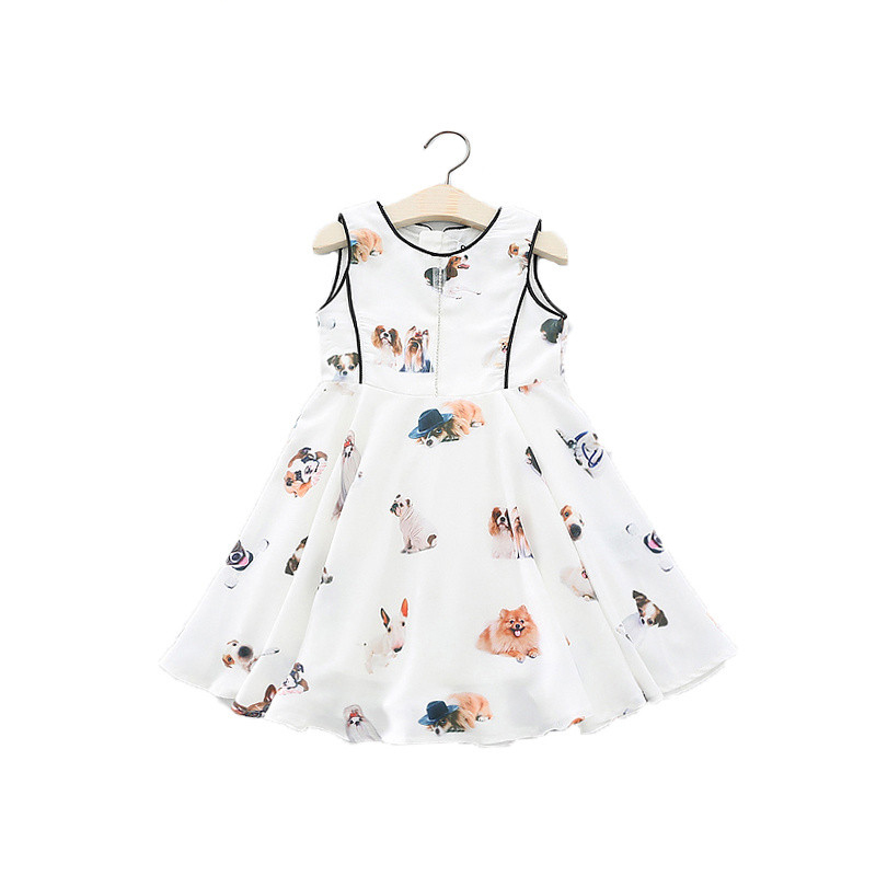 Oklady Summer children Girls printed cartoon dog vest dresses fashion Kids girl Flash drilling dress clothing