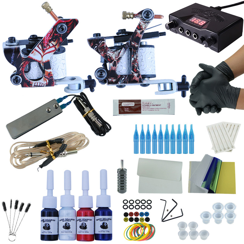 Complete Tattoo Kit Set Tattoo Machine Double Dual Power Supply 2 Guns 4 Immortal Color Inks Optional Tattoo Supplies professional tattoo kit coils machine gun complete tattoo set mini power needles immortal inks starter tattoo supplies