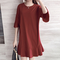 New 2016 Women Summer Fashion Loose batwing sleeve Ruffle Hem Dresses Plus Size O-neck Cotton Dress vestidos
