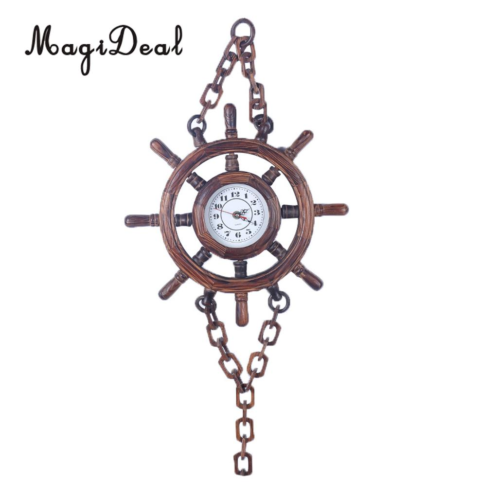 Battery Powered Wooden Wood Ship Boat Steering Wheel Wall Clock Chain Hanging Wall Decoration