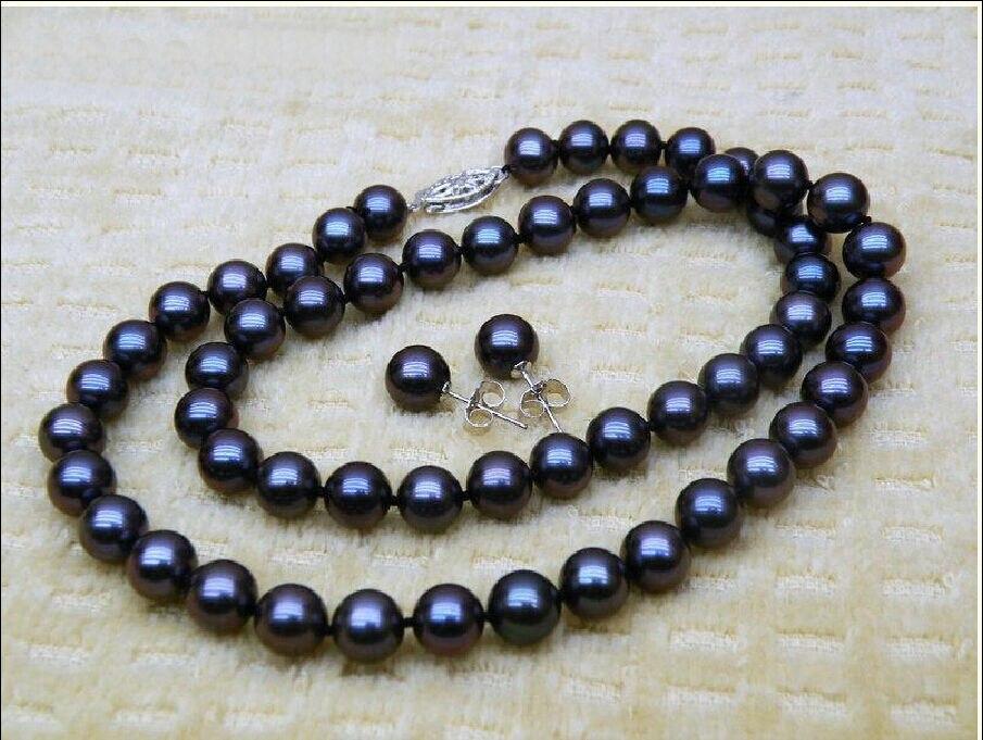 Vente chaude> ENSEMBLE DE 18 POUCE 10-11 MM NOIR de TAHITI MER DU SUD PERLE COLLIER BRACELET BOUCLE D'OREILLE-mariée bijoux livraison gratuite