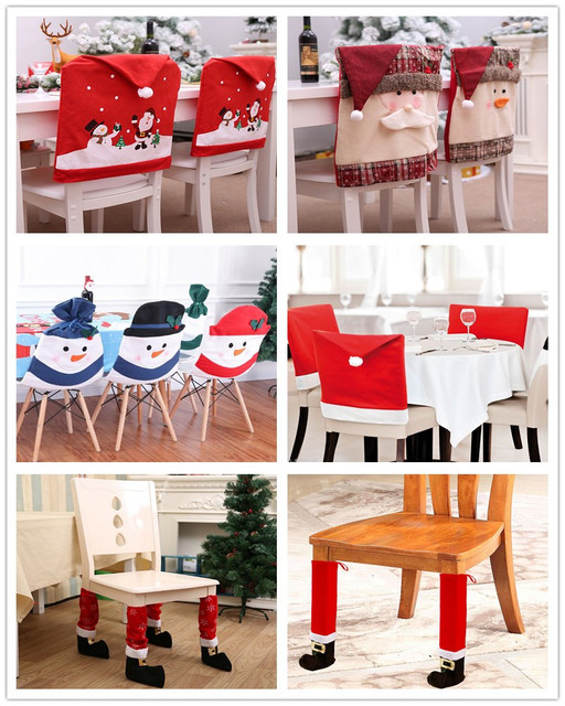 Snowman Santa Claus Cap Chair Cover Christmas Dinner Table Party Red