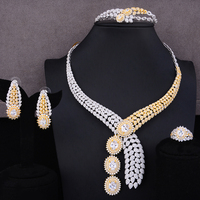 missvikki Dubai African Luxury Earrings Necklace Bangle Open Ring Jewelry Set for Women Bridal Wedding Party Show Jewelry Gift
